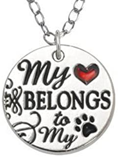 product image for Rockin Doggie Necklace, My Heart Belongs to My Dog with Red Heart