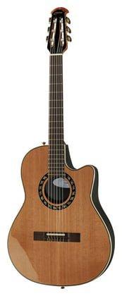 Ovation Classic Nylon Guitar Mid-Depth Cutaway AA Solid Cedar Natural - Nylon Ovation String Guitar