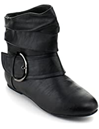 PAD-52 Women's Ankle High Slouched Buckle Booties Color:BLACK Size:6.5