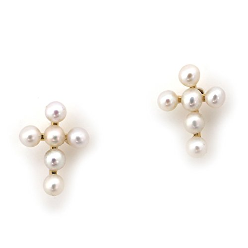 - 14k Yellow Gold White Round Freshwater Cultured Pearl Cross Screwback Earrings