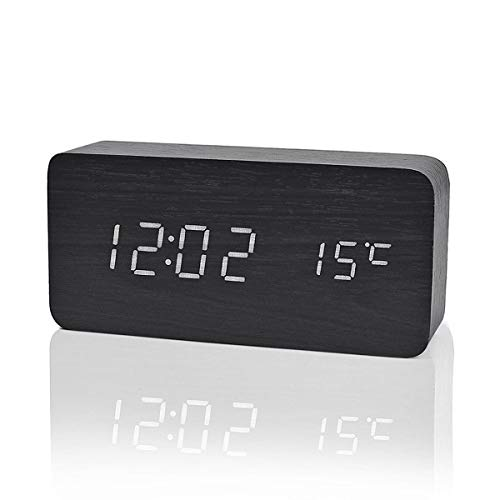 LuxSweet Wooden Multi-Functional Fashionable LED Smart Alarm Clock USB Interface Sound Control Alarm Clock Office Decoration Digital Alarm Clock Student Alarm Clock (Black 150x70x40mm)
