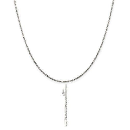 Sterling Silver Flute Charm on a Sterling Silver Rope Chain Necklace, 18