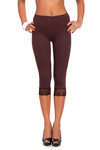 Futuro Fashion Cropped 3/4 Lenght Cotton Leggings with Lace All Colours & All Sizes Brown