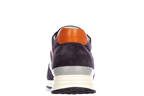 Hogan Rebel chaussures baskets sneakers homme en daim rebel r218 vintage blu