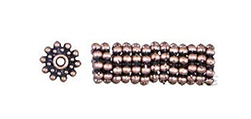 45 Antiqued Copper Plated Pewter Star Knob Wheel Beads for Jewelry Making, Supply for DIY Beading Projects ~ (Polished Copper Designer Knobs)
