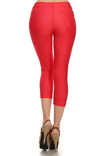 yisqzjzj Fascinating Women's Basic Solid Color Cotton Blend Capri Jeggings RedM/L (US 4 - 8 )