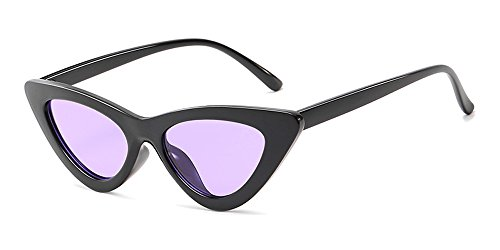 Mode Violet Lunettes Homme de Classique Soleil de Femme Rétro Unisexe chat Fuyingda Noir Triangle Oeil Lunettes BZvgqxnRw