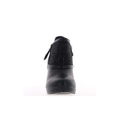 Stivali da donna nero a 10cm col Straße e piattaforma di tacco