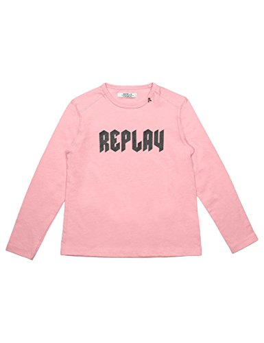 Replay Girls Pink Longsleeved T-Shirt With Print in Size 14 Years Pink by Replay