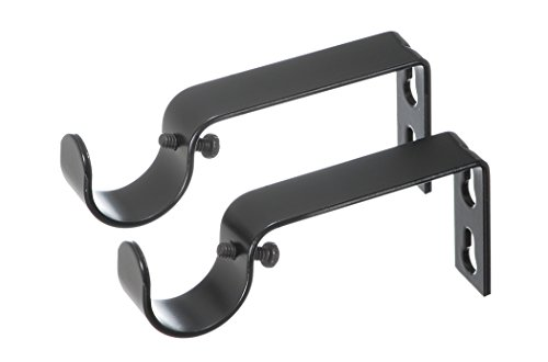 - Ivilon Fixed Brackets for Curtain Rods - for 1 or 1 1/8 Inch Rods. Set of 2 - Black