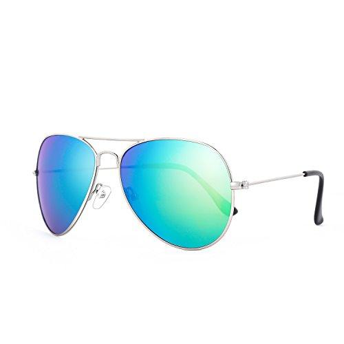 ROLF ROSSINI Aviator Polarized Sunglasses for Kids (Silver, Green - Boys Aviators