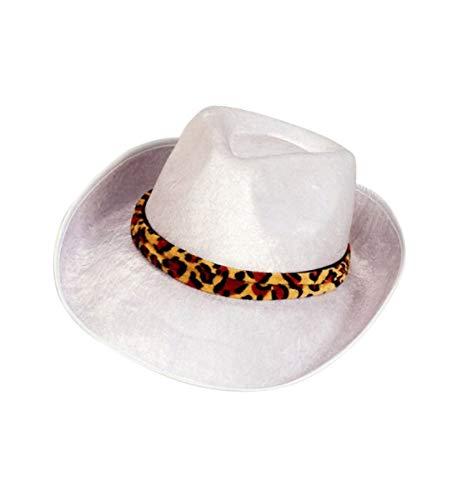(Forum Novelties Men's Novelty Adult Velvet Fedora Hat, White/Leopard, One Size)