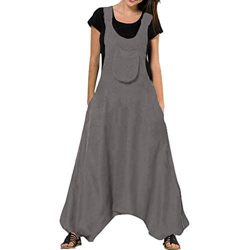Jumpsuits for Women U Neck Romper Sleeveless Backless Side Pockets Sets Baggy Long Overalls (L, Gray) ()