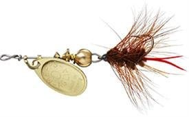 Mepp's Aglia and Black Fury Spin Fly Wooly Worm Fishing Lure, 1/12-Ounce, Gold/Brown Tail