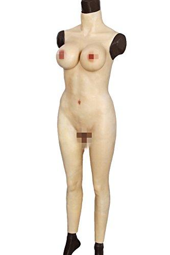 Kumiho 女装 CD 変装 変性 おっぱい 仮装 オカマ人工乳房 コスプレ性転換 男の娘 cos dress  シリコンバスト セクシー 偽胸 乳輪 巨乳 豊胸 胸 パッド入り トップス 全裸スーツ バスト 全身タイプ (アジア系黄色-アップグレード版)