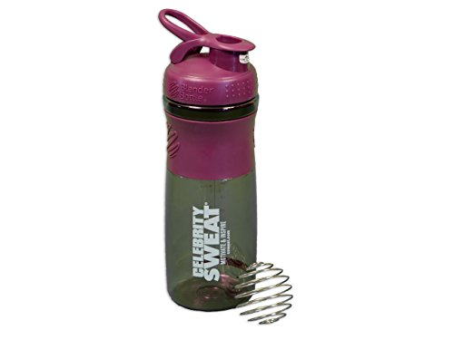 Celebrity Sweat Blender Bottle - (Plum) Perfect for Blending Protein or Pre/Post Workout Supplements, BPA and Phthalate free