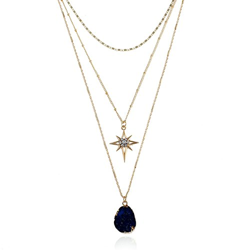 JSEA Womens Three Layers Gold Chain Necklace Faux Druzy Stone Drop Pendant Star