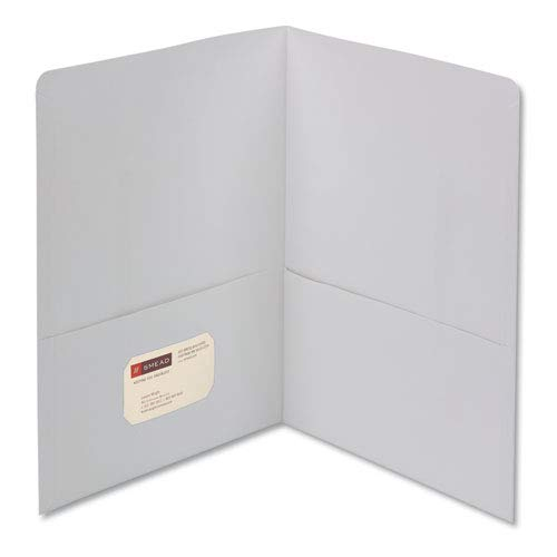 (Smead Products - Smead - Two-Pocket Portfolio, Embossed Leather Grain Paper, White, 25/Box - Sold As 1 Box - Keeps papers and electronic media safely together for easy transport and accessibility. - Holds business or title card for identification. - Pockets reinforced at sides for sturdiness.)
