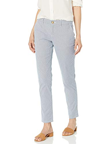 Tommy Hilfiger Women's Hampton Chino Pant-Stripe, Blue/White, - Tommy Jeans Ladies Hilfiger