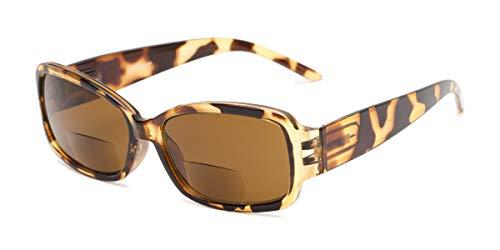 (Readers.com | The Karissa Bifocal Reading Sunglasses +2.25 Brown Tortoise with Amber Rectangle Women's Full Frame)
