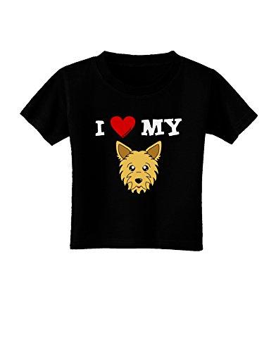 TooLoud I Heart My - Cute Yorkshire Terrier Yorkie Dog Toddler T-Shirt Dark Black - (Teacup Pup Yorkie)