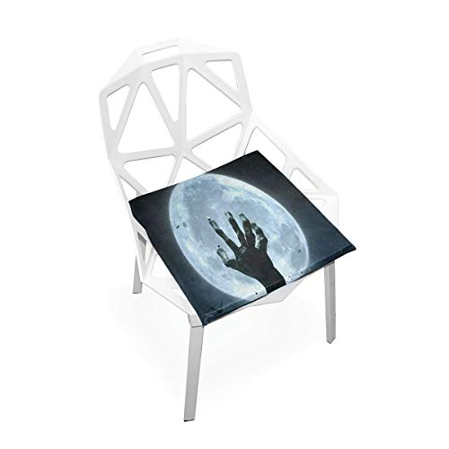 DERTYV Premium Comfort Memory Foam Seat Cushions,Halloween Zombie Hand Grave Full Moon Chair Pads for Truck Driver,Kitchen Chairs,Car,Office -