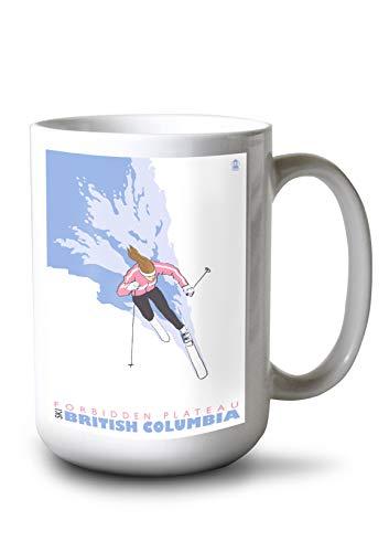 Lantern Press Forbidden Plateau, British Columbia, Canada - Woman Skiing (15oz White Ceramic ()