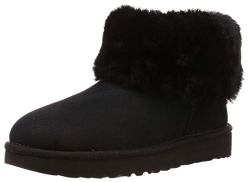 UGG Women's Classic Mini Fluff Ankle Boot, Black, 8 M US (Short Boots Ugg Classic Black)