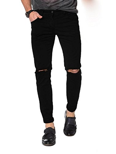 82d21aa0706 oiin Knee Cut Men s Slim Fit Black Ripped Damaged Damler Jeans Pant Latest  Trend 2018 708