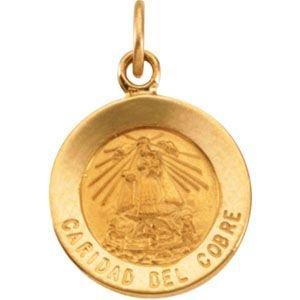 Or jaune 14 carats CariDad Del Cobre Médaille JewelryWeb 12 mm