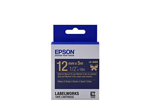 "Epson LabelWorks Ribbon LK (Replaces LC) Tape Cartridge ~1/2"" Gold on Navy (LK-4HKK) - For use with LabelWorks LW-300, LW-400, LW-600P and LW-700 label printers"