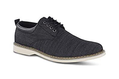 Members Only Men's Chambray Oxford Classic Business Casual Shoes Black Size: 8