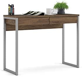 Levan Home Modern 2 Drawer Multi-Functional Desk, Home Office Computer Desk, Writing Desk in Walnut, Space Saver
