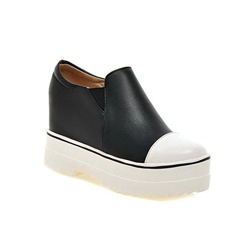 Amoonyfashion Mujeres Round Closed Toe Tacones Altos Material Suave Pull-on Pumps-Zapatos Black