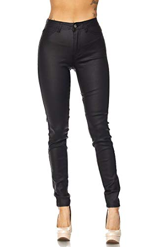 SOHO GLAM Super High Waisted Stretchy Skinny Jeans, Faux Leather Black, Small (Black Leather Soho)