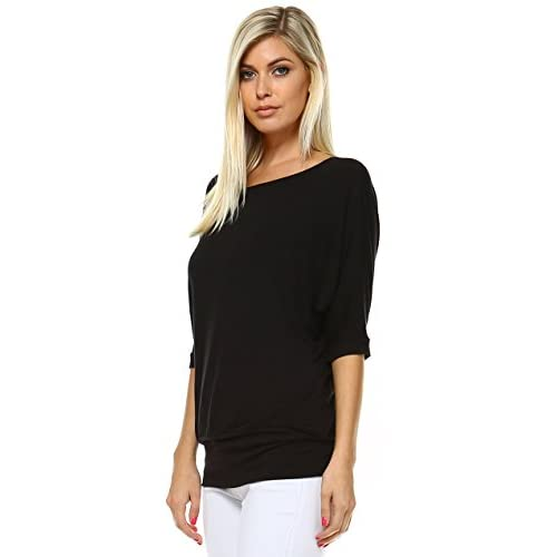 6460c1534f27d 30%OFF Oversized Elbow Short Sleeve Banded Dolman Top Dress Shirt For Women  Made In