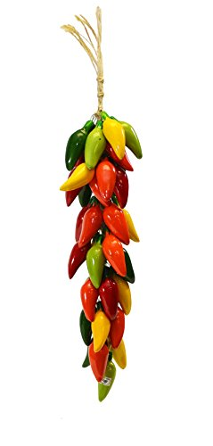 SMALL RISTRA/STRING OF CERAMIC JALAPENO PEPPERS, WITH 35-40 PEPPERS-21 Long