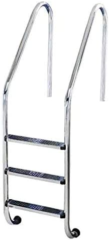 YMBERSA Escalera Piscina estándar 3 Peldaños Antideslizantes. Acero Inoxidable AISI 304 con Anclajes con Toma de Tierra. Regalo Limpiador de Acero: Amazon.es: Jardín