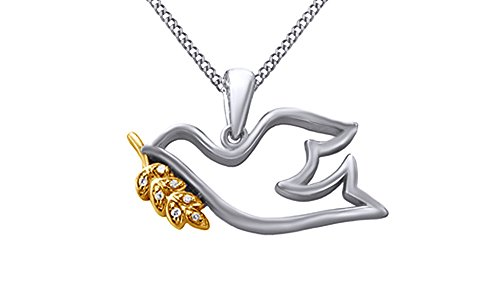 AFFY White Natural Diamond Dove with Olive Branch Pendant Necklace in 14k White Gold Over Sterling - Branch Pendant Gold