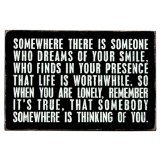 Somewhere There Is Someone Who Dreams Of Your Smile – Mailable Inspirational Wooden Greeting Card