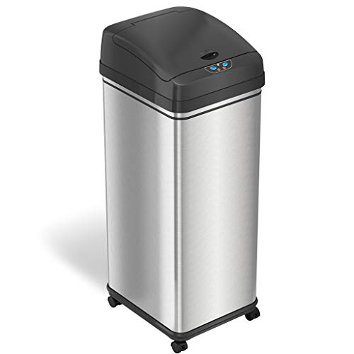 iTouchless Glide Sensor Trash Can with Wheels and Odor Control System, Automatic Kitchen and Office Garbage Bin (Powered by Battery or Optional AC Adapter), 13 Gallon, Stainless Steel