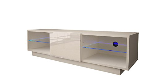 Noble Concept Amsterdam 55'' TV Stand - Floating or Floor Standing TV console with Multicolor LED lights (White & High Gloss White) by Noble Concept
