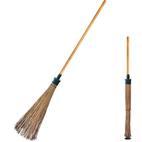 MadamBee Self-Standing Broom - Strong Natural Fiber - Compact Outdoor Garden Broom (Garden Broom)