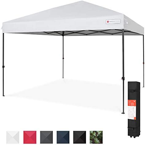 Best Choice Products 10x10ft 1-Person Setup Pop Up Canopy Tent Instant Portable Shelter w 1-Button Push, Straight Legs, Wheeled Carry Case, Stakes – White
