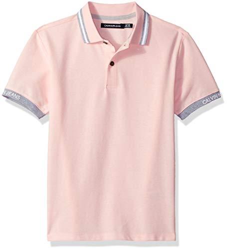 Calvin Klein Boys' Big Marled Space dye Logo Sleeve Polo, Light Pink, Medium (10/12) ()