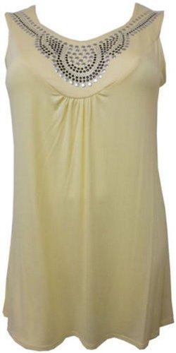New Womens Plus Size Stud Neckline Vest Tops Ladies Tunic Tops ( Yellow , UK 18 / EU 46 )