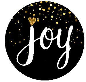 (96pack Joy Black Glitter Chirstmas Holiday Stickers Labels Envelope Decorative Seals -1.5inch)