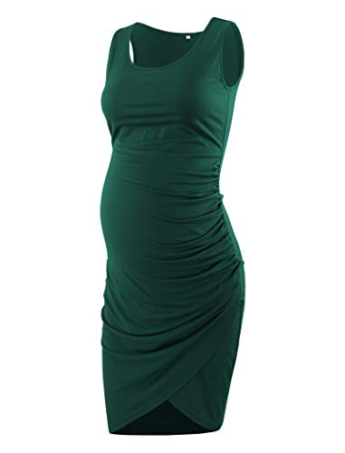 Ecavus Women's Maternity Mama Sleeveless Tulip Dress Wrap Hem Ruched Casual Fitted Sheath Dress (Sleeveless Wrap Maternity)