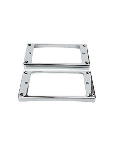 Guyker 2Pcs Pickup Mounting Rings for Humbucker - Metal Bridge and Neck Pickups Cover Frame Curved Set Replacement Electric Guitar or Bass (Chrome)