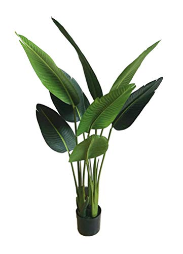 - AMERIQUE 4' Bird of Paradise Artificial Tree Silk Plant with Giant Leaves, UV Protection, with Plastic Nursery Pot, Feel Real Technology, Super Quality, 4 feet, Green